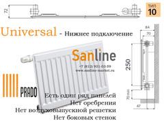 Радиатор Prado Universal Тип 10x300x3000 Нижняя подводка