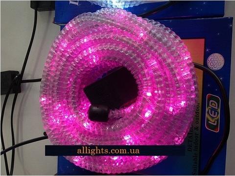 Гофрированная лента 20 метров розовая pink led