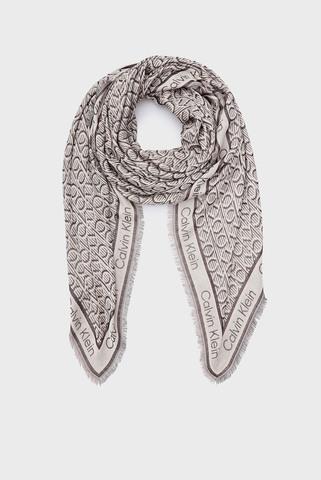 Женский серый шарф с узором CK MONO J Calvin Klein