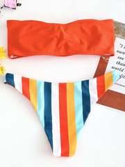 купальник бандо раздельный оранжевый радуга Orange-Rainbow 2