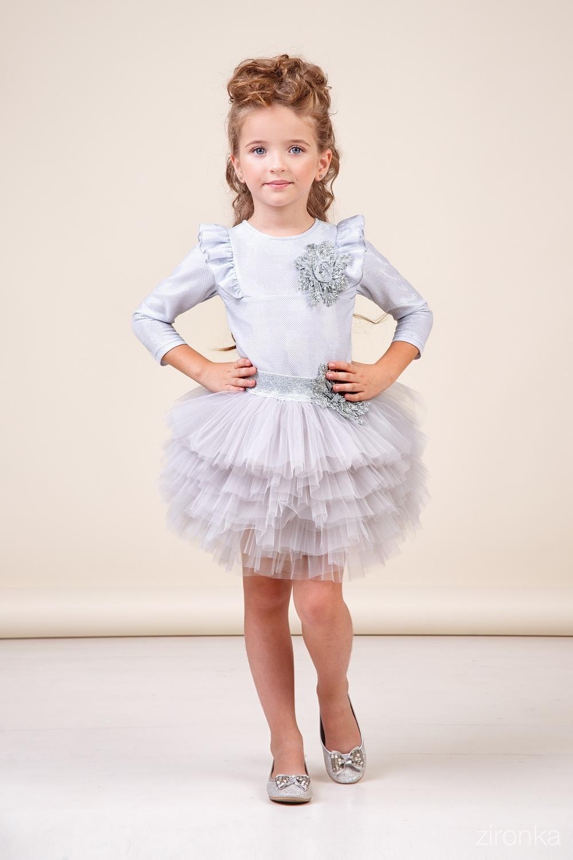 Комплект (блузка, юбка) серебристый для девочки 64-8040-2