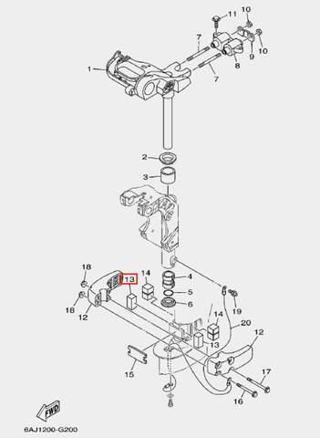 Амортизатор нижний передний для лодочного мотора F20 Sea-PRO (20-13)