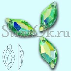 Стразы пришивные акриловые Leaf Peridot AB, Листок Перидот АБ зеленый с радужным покрытием на StrazOK.ru