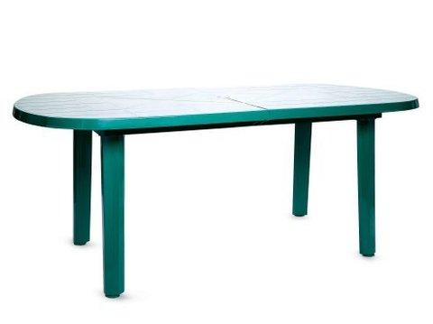 Пластиковый стол овальный зеленый