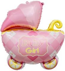 К Коляска для девочки, Розовый, 35''/89 см, 1 шт.