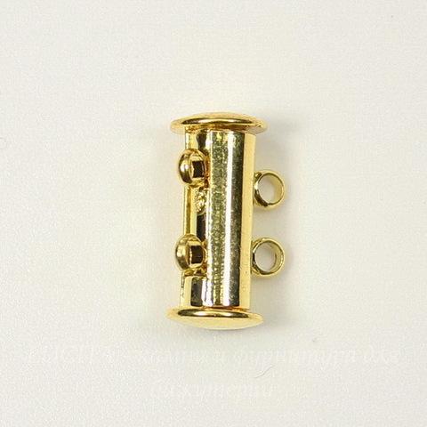 Замок магнитный трубочка на 2 нити (цвет - золото) 16х10 мм
