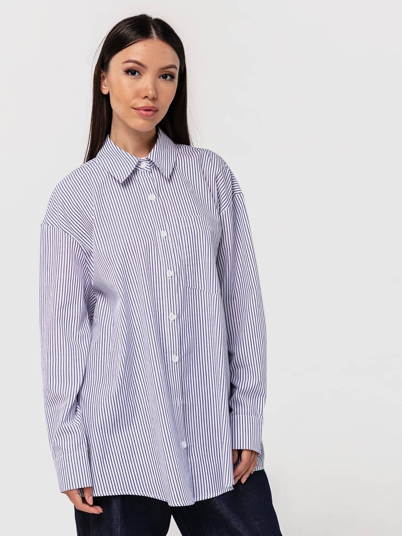Хлопковая рубашка бойфренда в полоску с длинными рукавами YOS