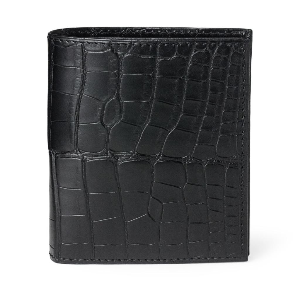 Портмоне-кошелек Carre Premium из натуральной кожи крокодила, черного цвета
