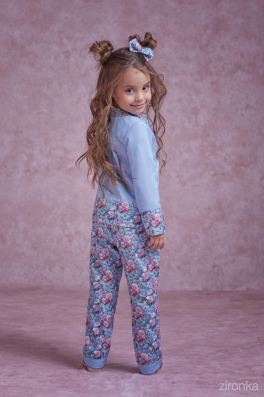 Комплект (жакет, брюки) голубой для девочки 4059-1