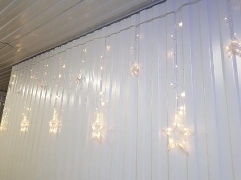 Гирлянда домашняя Бахрома Звезды 2,5*0,9м 130LED теплый белый