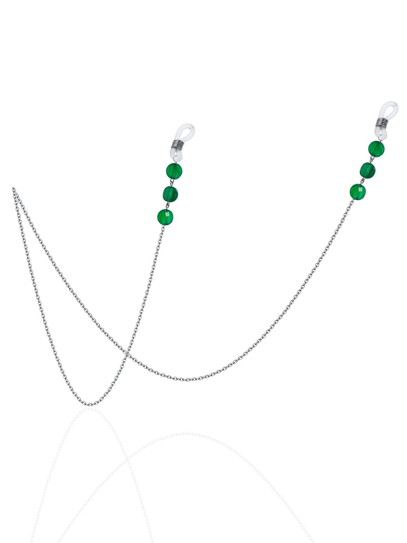 Цепочка для очков (горох) с зеленым агатом (табл. гран.)