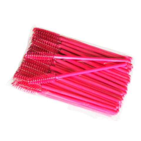 Щеточка для ресниц нейлоновая (розовая c розовой палочкой), 50 шт.