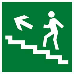 Е16 Эвакуационный знак - Направление к эвакуационному выходу по лестнице вверх налево
