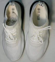 Белые легкие кроссовки женские El Passo KY-5 White.
