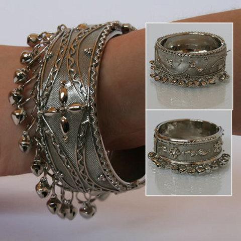 Браслет колокольчики, сетка (под серебро)