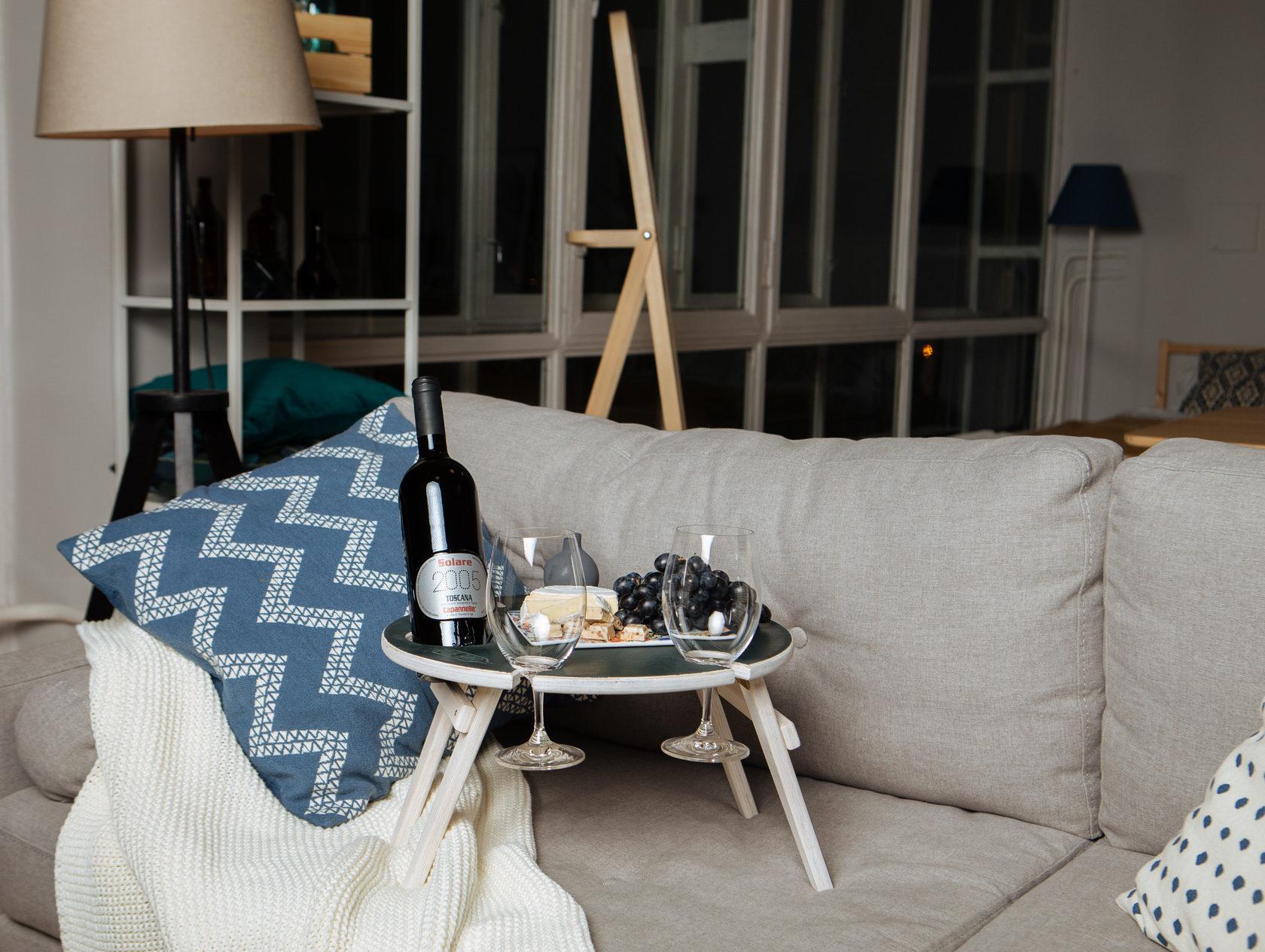 Складной столик для вина, графитовый