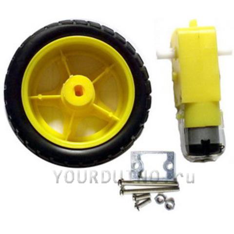 Комплект Колесо, крепление и мотор-редуктор для робота
