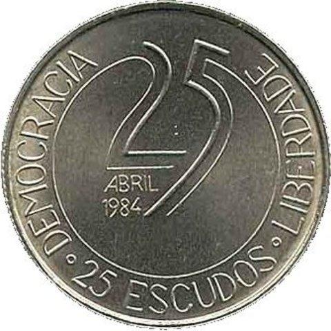 """25 эскудо """"10 летие португальской революции""""  1984 год"""