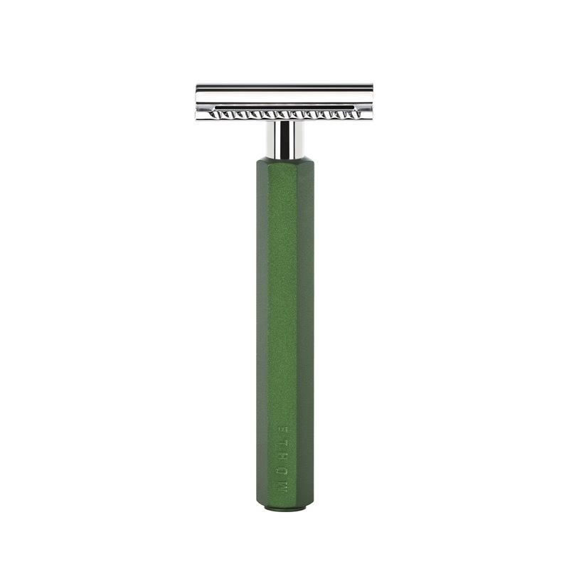 Т-образная бритва MUEHLE HEXAGON, анодированный алюминий, зеленая, closed comb