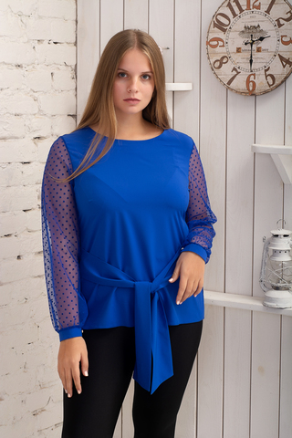 Иветта. Блуза Pluse Size с прозрачным рукавом. Электрик