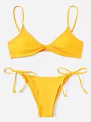 купальник бикини желтый с лямками твист Yellow Twist 3