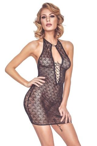 Эротическое нижнее платье из тюля со шнуровками Cylenne (BS)