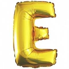Шар (40''/102 см) Буква, E, Золото, 1 шт.