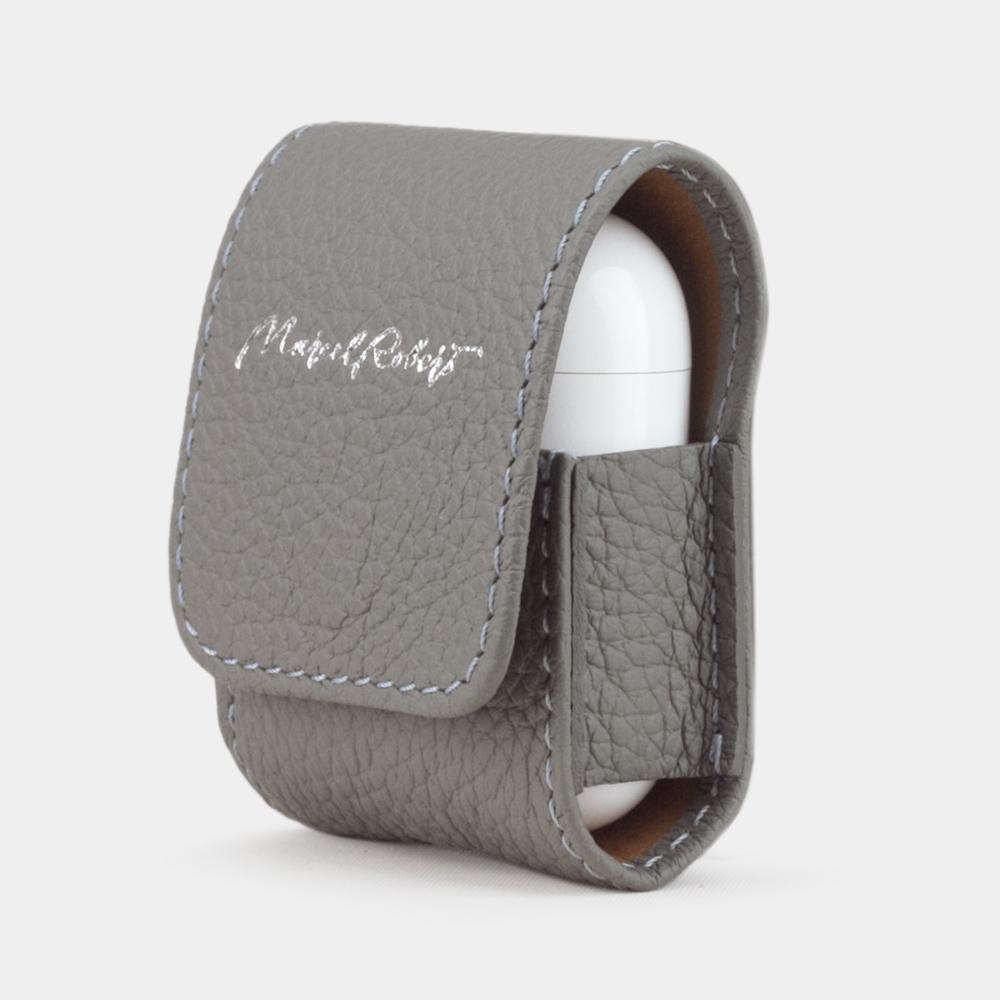 Чехол-держатель для наушников Petit Easy из натуральной кожи теленка, стального цвета