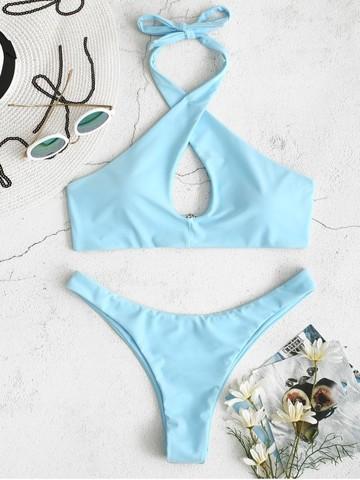 купальник раздельный голубой с перекрестными лямками на груди Cross Blue Sky 1