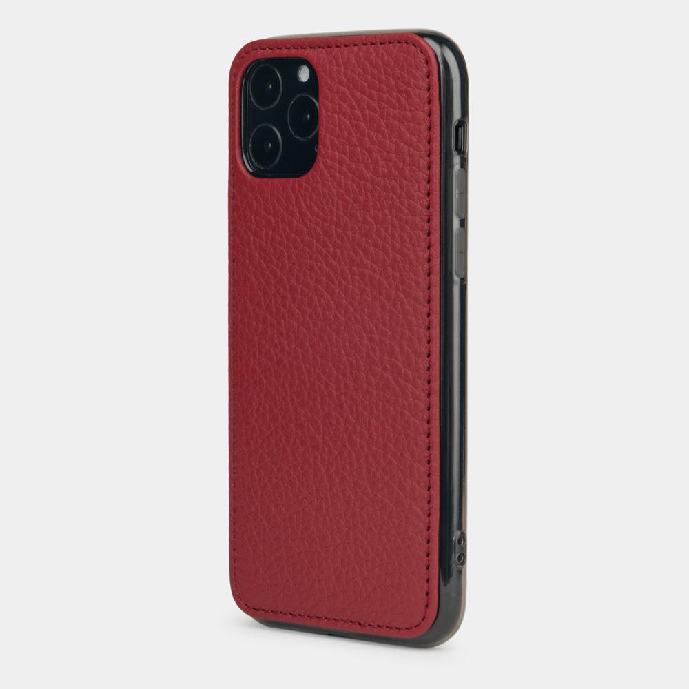 Чехол-накладка для iPhone 11 Pro из натуральной кожи теленка, вишневого цвета