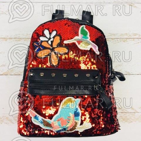 Рюкзак с пайетками и нашивками чёрно-красный хамелеон
