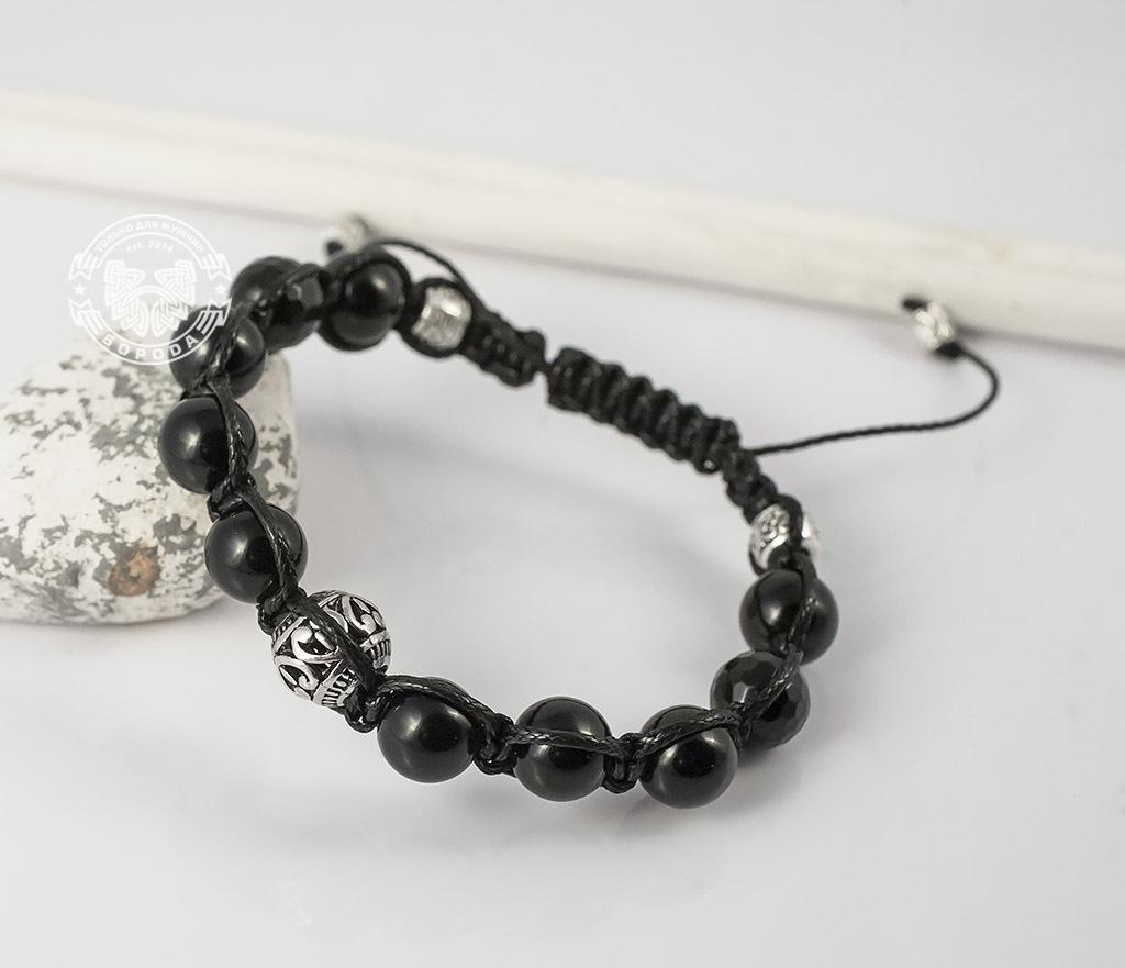 BS628 Черный браслет шамбала из агата с металлической фурнитурой. «Boroda Design» фото 04
