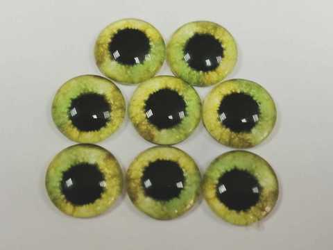 Глазки стеклянные,  10мм, бледно-зеленые, 1уп-8шт. (1163)