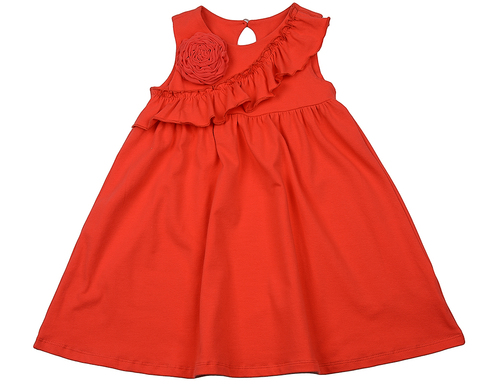 Платье кораллово-красное с рюшей Mini-Maxi (арт.UD 2985(1))