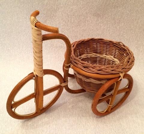 Кашпо велосипед (ротанг), 32х20/D18xH26 см, цвет: натуральный