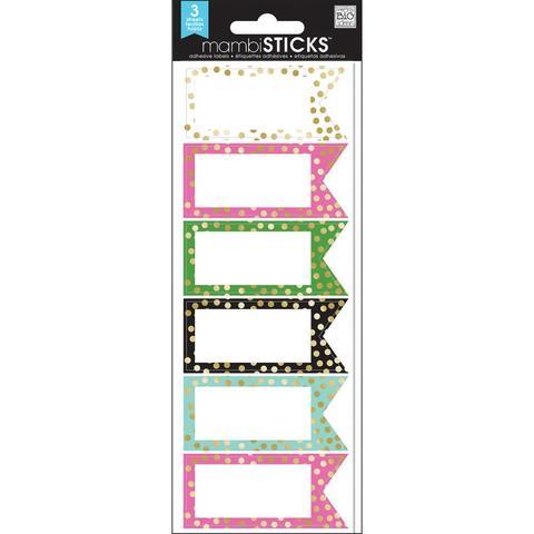 Набор стикеров Label Stickers -Big City Brights Banner W/Gold Foil Dots- 18шт.