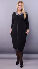 Орнелла. Платье для женщин size plus. Черный.