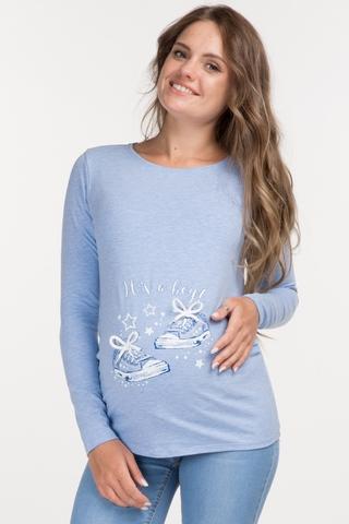 Лонгслив для беременных 10989 голубой/принт кеды