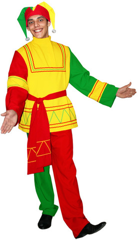 Русский костюм Скомороха красный