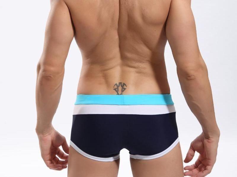 Мужские плавки с темно-синей, белой и бирюзовой полосой SEOBEAN Swimsuit
