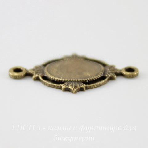 """Сеттинг - основа - коннектор """"Листики"""" (1-1) для камеи или кабошона 8х6 мм (оксид латуни)"""