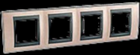 Рамка на 4 поста. Цвет Оникс-графит. Schneider electric Unica Top. MGU66.008.296