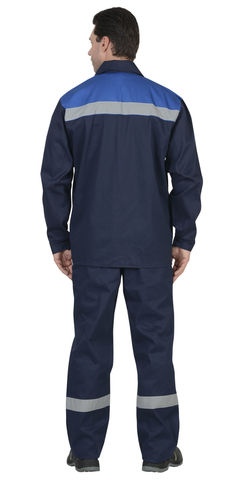 Костюм мужской куртка, брюки синий с васильковым с СОП 100% хлопок