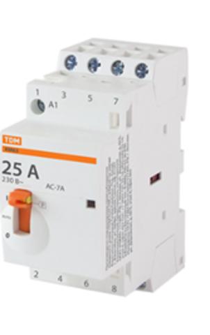 Контактор модульный с ручным управлением КМ63/4-25 4НО 230В АС TDM