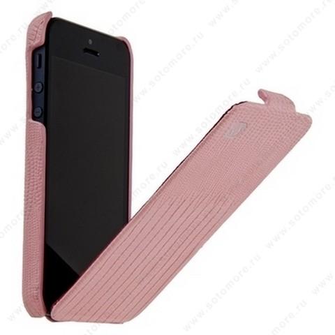 Чехол-флип HOCO для iPhone SE/ 5s/ 5C/ 5 - HOCO Lizard pattern Leather Case Pink