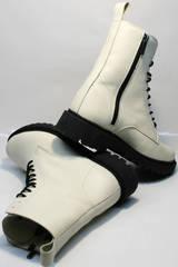 Женские ботинки на шнурках без каблука зимние Ari Andano 740 Milk Black.