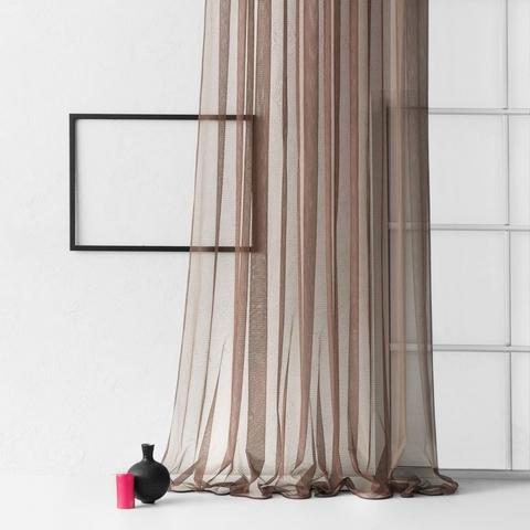 Тюль из сетки с узором Сирена коричневый