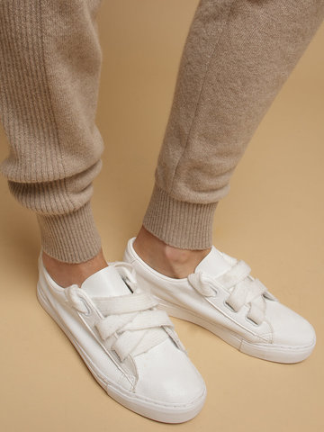 Женские брюки бежевого цвета из 100% кашемира - фото 5