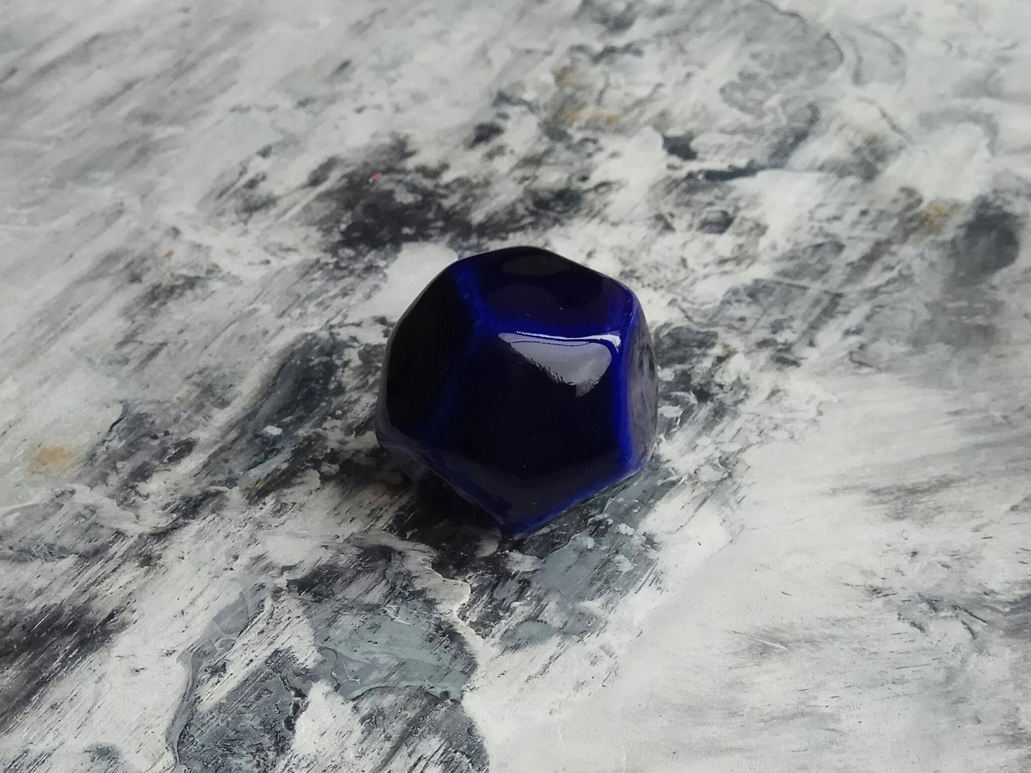 Ручка мебельная керамическая полигональная  - темно синий , арт. 00001003
