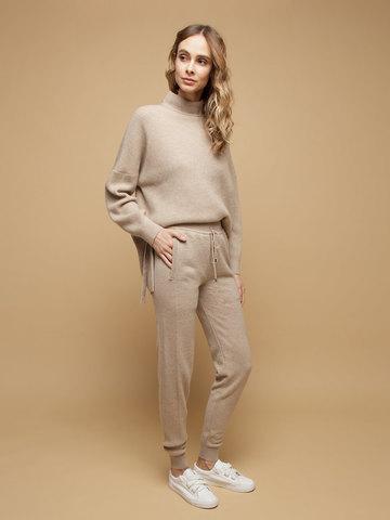 Женские брюки бежевого цвета из 100% кашемира - фото 2